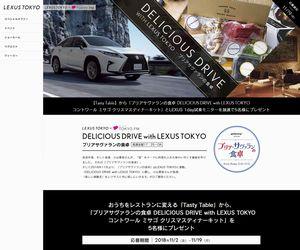 懸賞 車 DELICIOUS DRIVE with LEXUS TOKYO 試乗モニター&お料理キットプレゼント