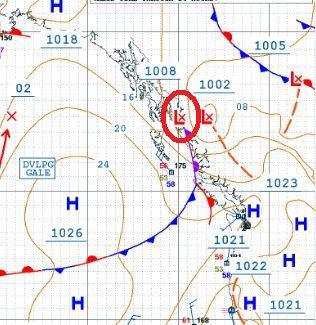 天気図 カナダ西岸 10月12日