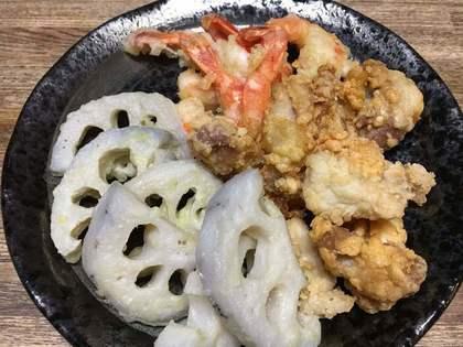 エビとれんこんの天ぷら+唐揚げ