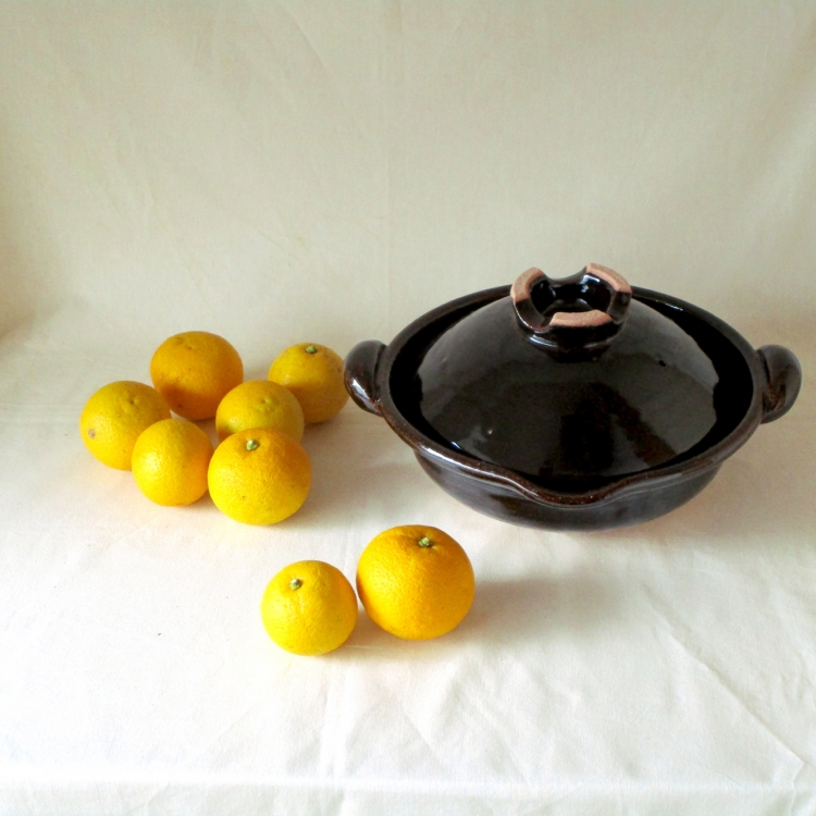 土楽窯/口付黒鍋8寸 (2)