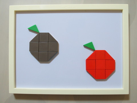 公文の図形モザイクパズルでりんご
