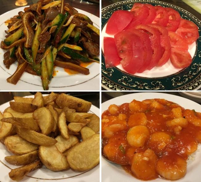 豚耳の和え物、トマトサラダ、フライドポテト、エビチリソース