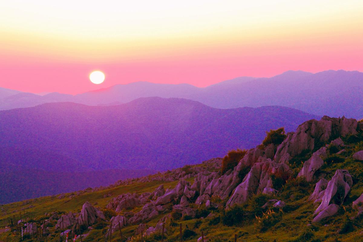 五段高原の落日