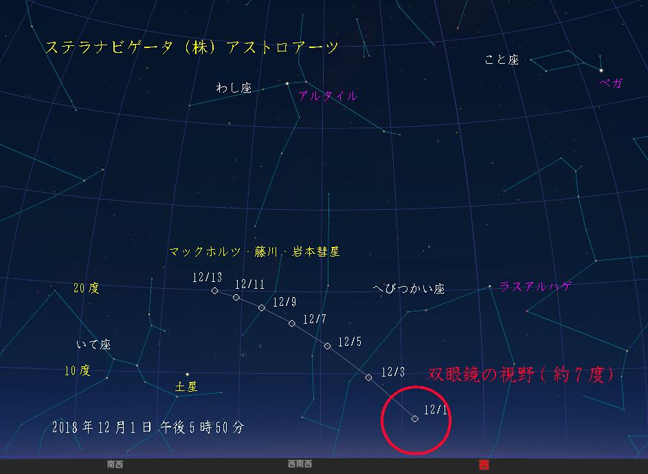 星図 マックホルツ・藤川・岩本彗星 経路図 (復路)