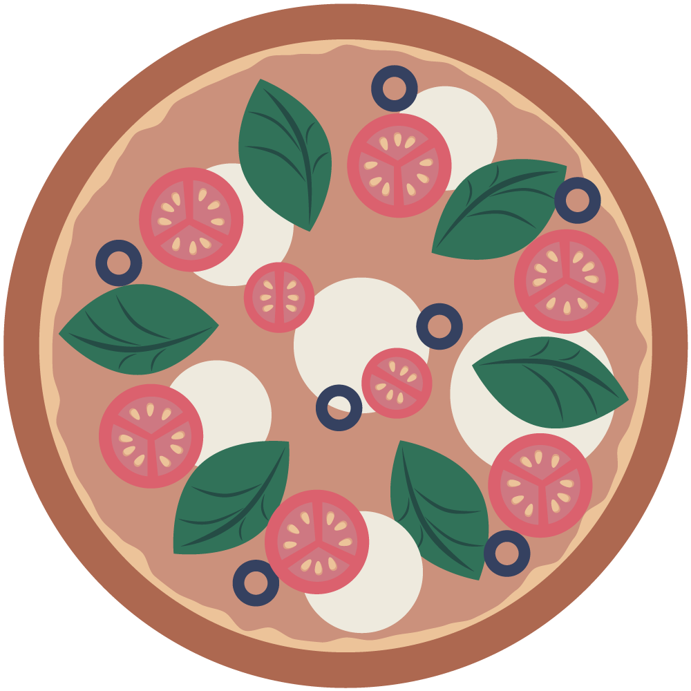 シンプルでフラットなトマトとバジルとモッツァレラチーズのマルゲリータピザのイラスト