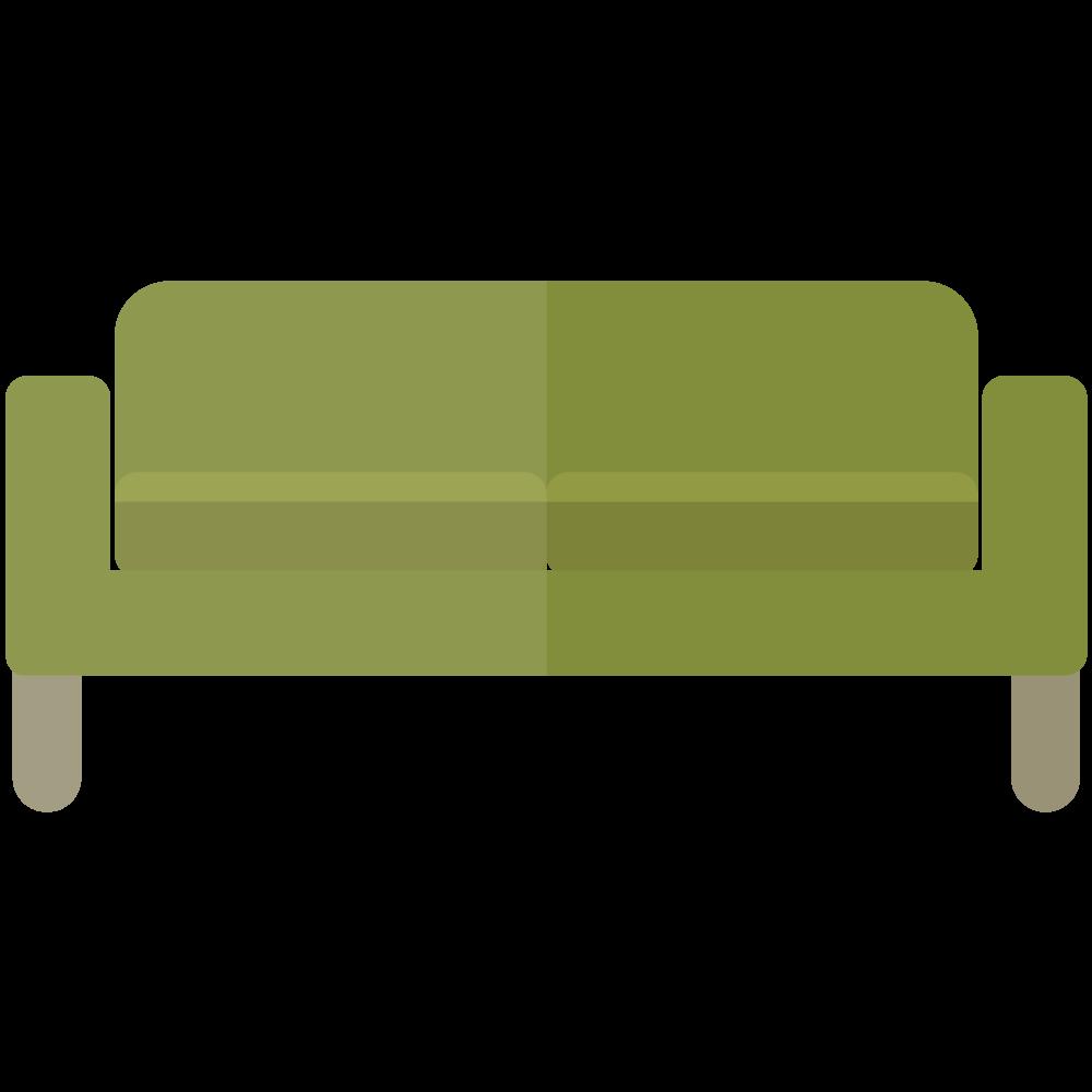 シンプルでかわいい緑の四角いソファのイラスト