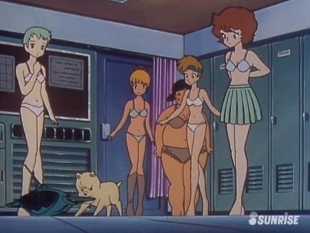 超力ロボガラット パティ・パンプキンとエクレアとカチュアの女子更衣室での着替えシーン下着姿ブラパンツ3