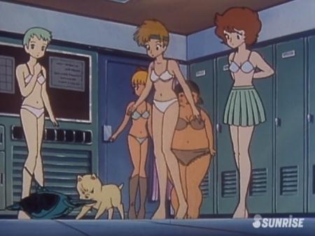 超力ロボガラット パティ・パンプキンとエクレアとカチュアの女子更衣室での着替えシーン下着姿ブラパンツ4