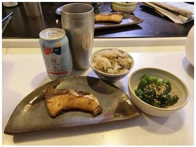 牡蠣飯の晩御飯1
