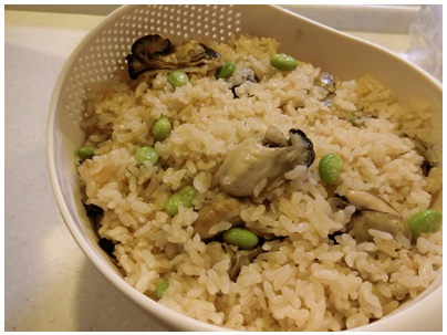 牡蠣飯の晩御飯3