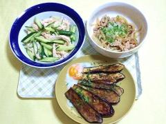 CAI_181015_5293 鶏むね肉と胡瓜のサラダ・豚肉とシメジのみぞれあん・茄子のソテー温玉のせ_VGA