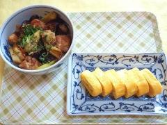 CAI_181029_5309 茄子と鶏肉と長葱の味噌炒め丼・だし巻き玉子_VGA
