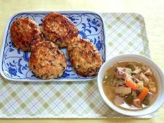 CAI_181029_5310 紫蘇ひじき入り豆腐の照り焼きハンバーグ・豚汁_VGA