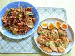 CAI_181101_5314 豚肉とキャベツのコチュジャン炒め・鶏むね肉の照り玉焼き(丼仕様)_VGA