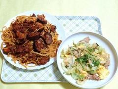 CAI_181112_5321 茄子のボロネーゼ風パスタ・豚肉とキャベツの玉子とじ_VGA