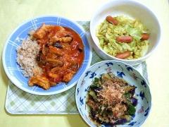 CAI_181203_5341 鶏のトマト煮ライス・キャベツとウインナーのカレー炒め・茄子とピーマンの煮浸し_VGA