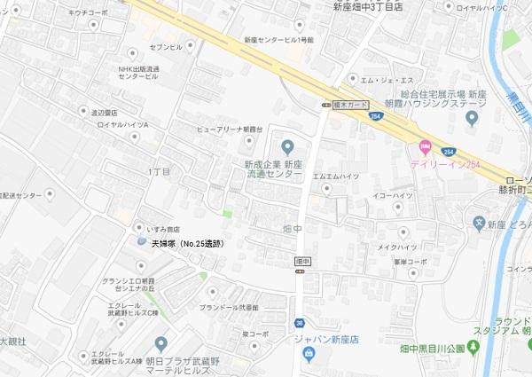 夫婦塚跡地図