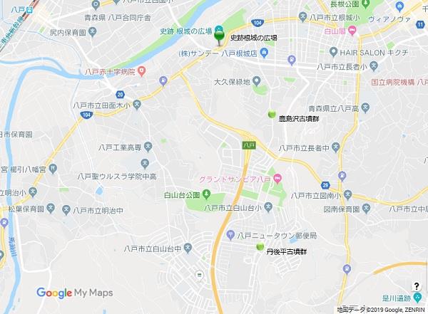 鹿島沢・丹後平古墳群地図