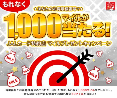 JALは、あなたのお得意様番号でマイルが当たる「JALカード特約店 マイルプレゼントキャンペーン」を開催!