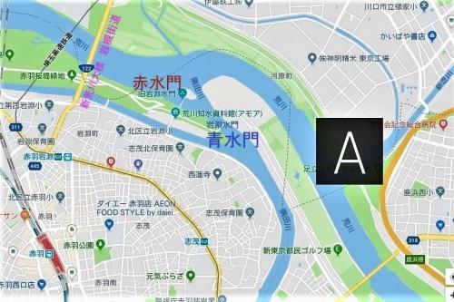 ☆地図 赤羽駅ー岩渕水門