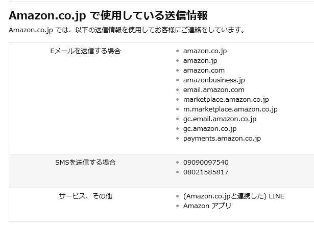 アマゾンからのアドレス