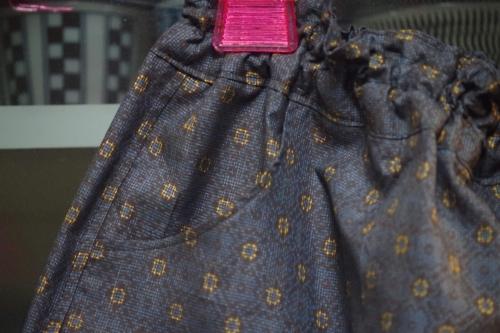 着物リメイク ギャザースカート ポケット