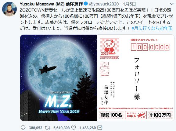 ZOZO前澤友作社長(43)の「100人に100万円を現金でプレゼント」募集終了 … 応募条件のRT数が554万件、100万円の当選倍率は約5万5400倍に