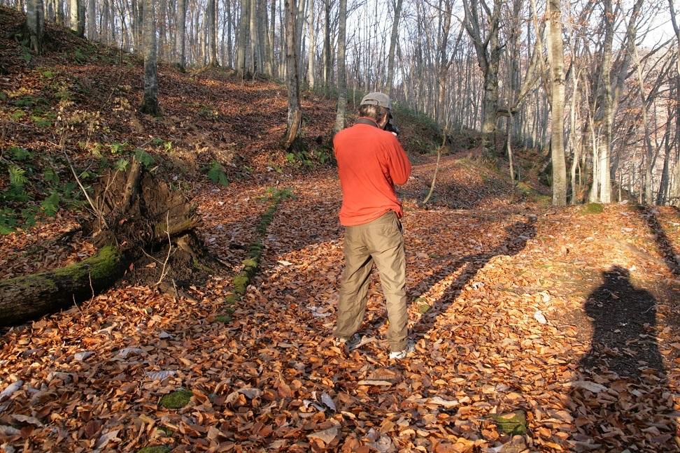 ブログ 枯れ葉の上の自分の蔭を狙う.jpg