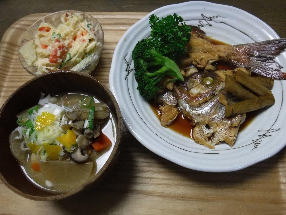 夕ご飯 かぶと煮、ポテトサラダ、トン汁風具沢山味噌汁.jpg