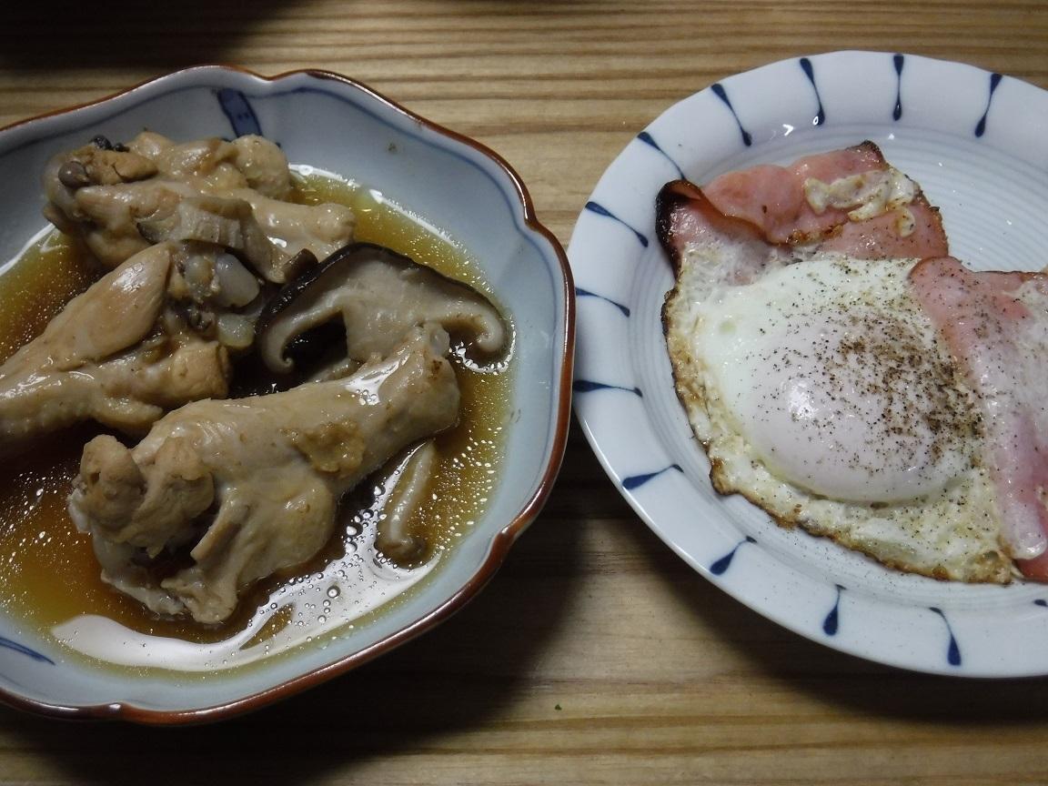 ブログ 夕食 鳥の酢煮とハムエッグ丼.jpg