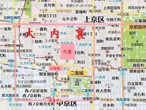 平安時代の内裏と京都御所の位置