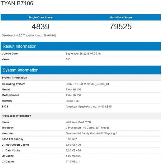 Xeon Gold 6232 (2018年11月2日)