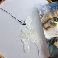 刺繍 リアル猫