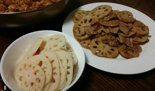 酢蓮根&蓮根と肉の炒め物