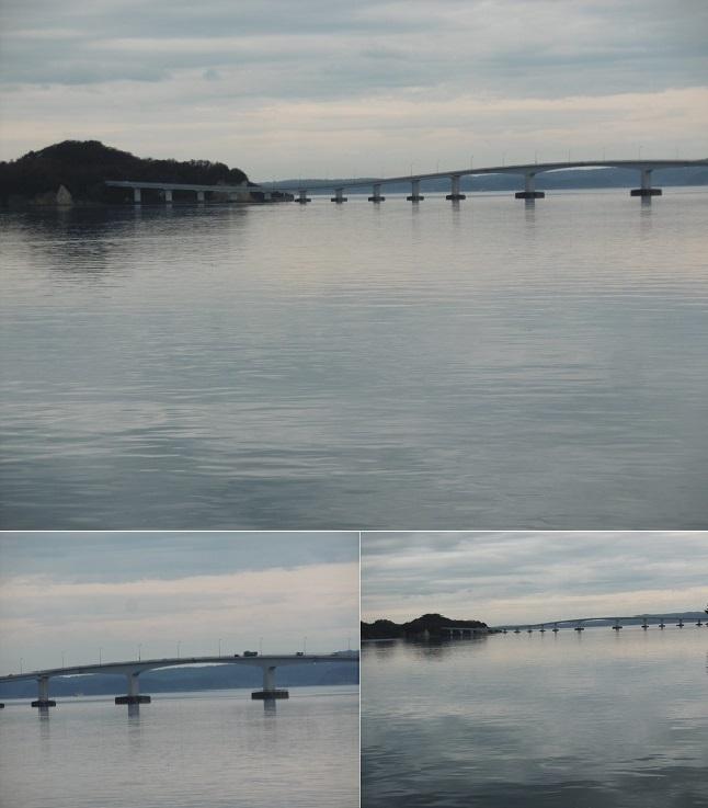 ホテル海望から能登島大橋を見る
