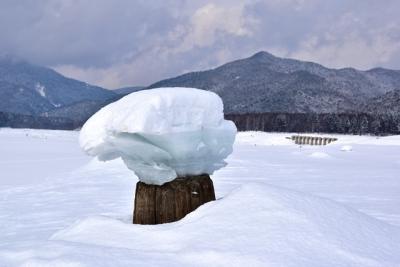 冬の湖に出現するきのこ氷