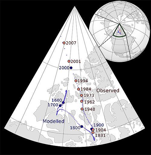 磁北極の移動が加速中