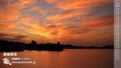 那覇軍港の夕焼け空 デスクトップカレンダー2月
