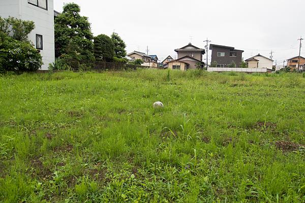 空き地のサッカーボール