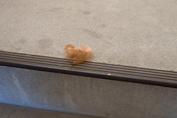 階段にタマネギの皮