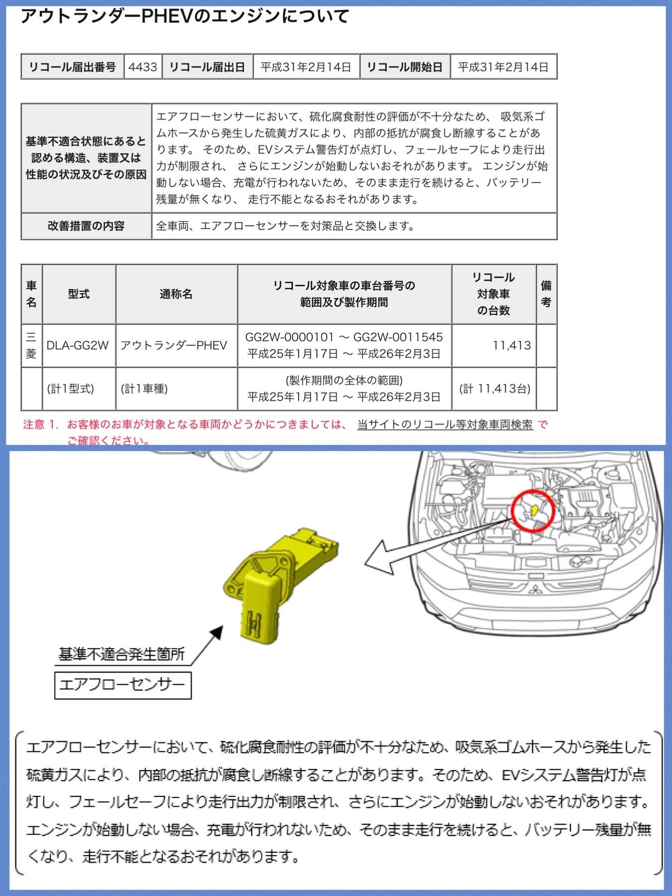 アウトランダーPHEVリコール2019 エアフローセンサー