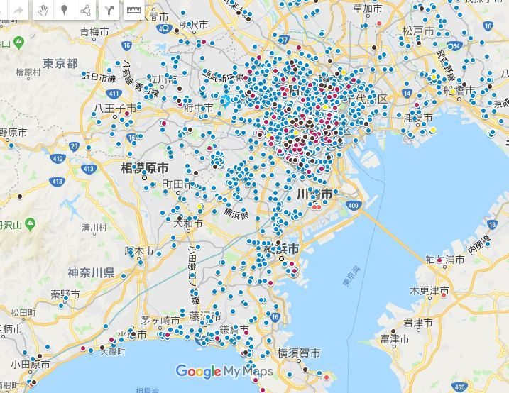 分布図東京神奈川