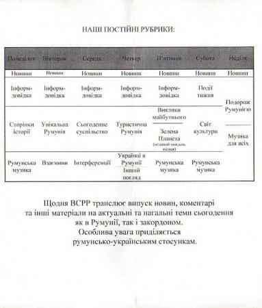 2018-2019年冬季 ウクライナ語放送スケジュール表