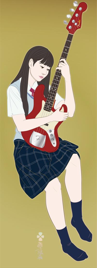 ベースギター日本画181201