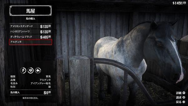 【レッドデッドリデンプション2】『軍馬』の受け取り方と特徴・ステータス【RDR2】