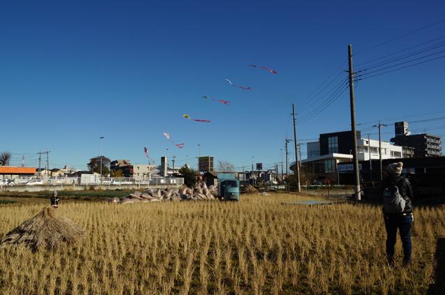 家族で凧揚げをする