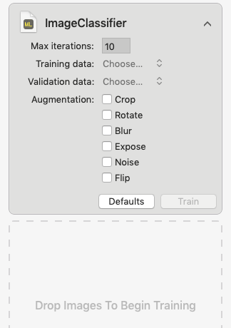 Create ML学習開始時の詳細画像
