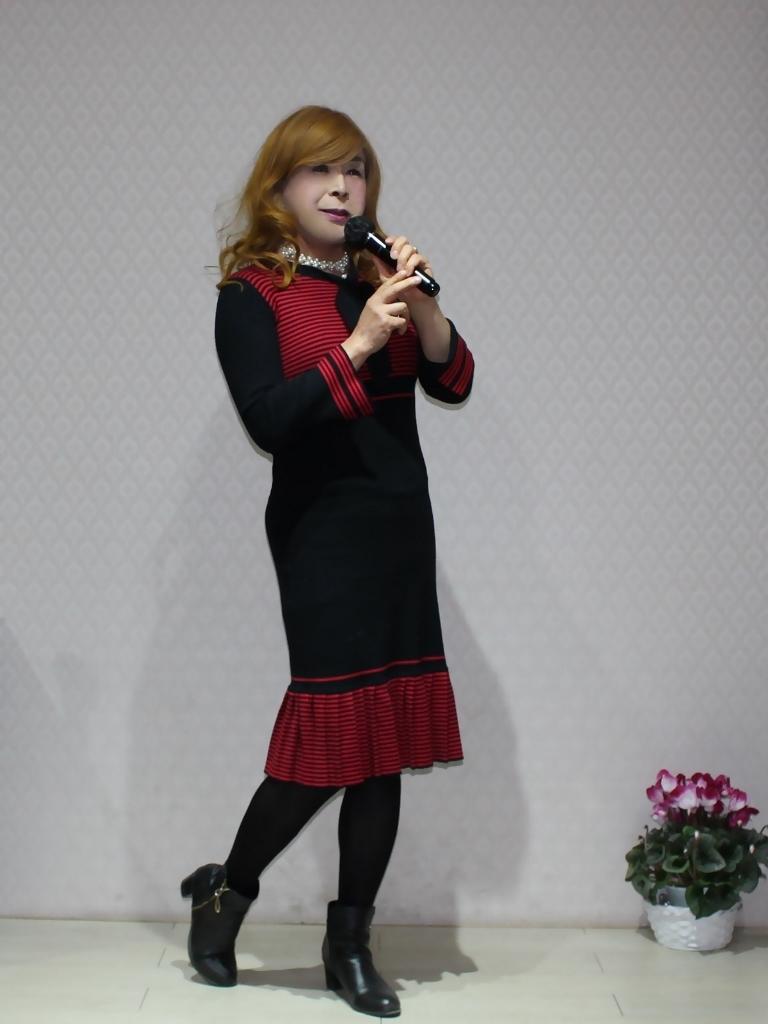 赤黒ニットワンピカラオケ(4)