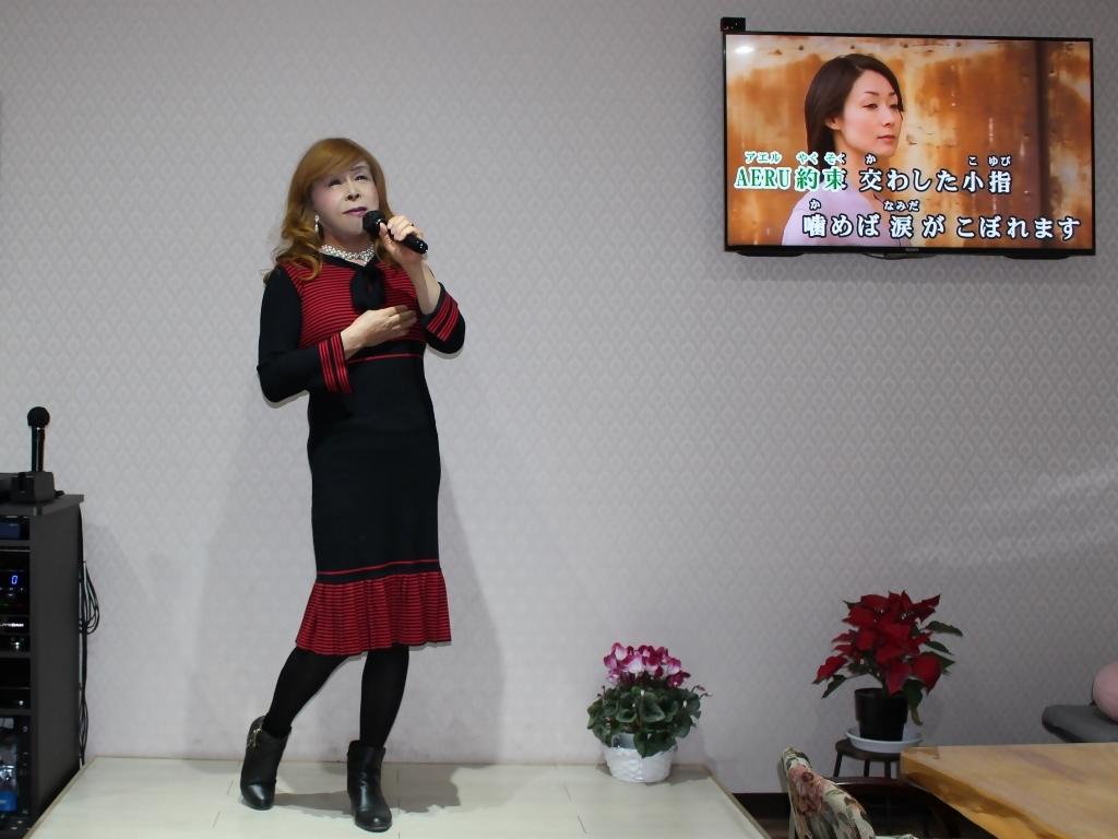 赤黒ニットワンピカラオケ(5)