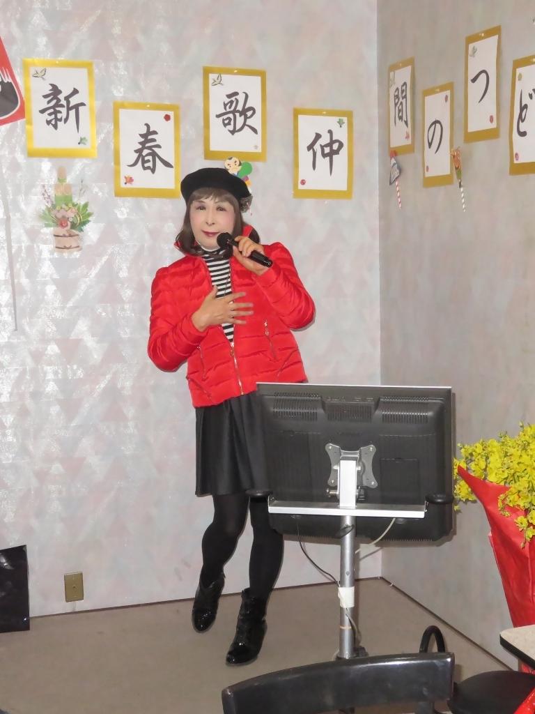 赤ダウンジャケット黒フレアスカカラオケ(2)